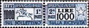 1954 - Pacchi Postali - Repubblica  - cavallino a sinistra e cifra a destra
