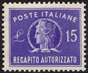 1949 - Recapito autorizzato - Repubblica - «Italia turrita» -  formato ridotto