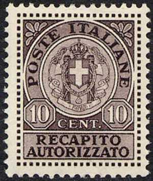 1930 - Recapito autorizzato - Regno  - Nuovo tipo - Stemma sabaudo tra due fasci