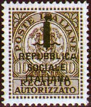 1944 - Recapito autorizzato - R.S.I. - tipo del 1930  soprastampato
