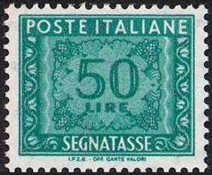 1991 - Segnatasse  Repubblica - Tipi del 1955 con dicitura «I.P.Z.S.» sul margine inferiore
