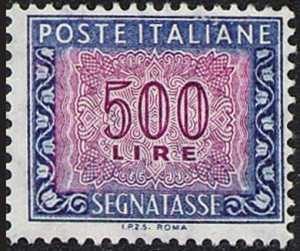1992 - Segnatasse  Repubblica - Tipi del 1961con dicitura «I.P.Z.S.  ROMA» sul margine inferiore