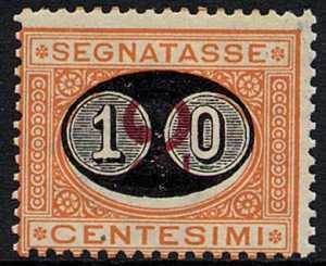 1890 - Segnatasse Regno - tipi del 1870 soprastampati con nuovo valore - detti «mascherine»