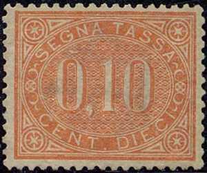 1869 - Segnatasse Regno - cifra in contorno ovale - nuovo tipo