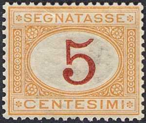 1890 / 94 - Segnatasse Regno - tipi del 1870  - nuove tirature in colori diversi e valore complementare