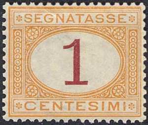 1870 - Segnatasse Regno - cifra carmionio o bruna  in contorno ovale