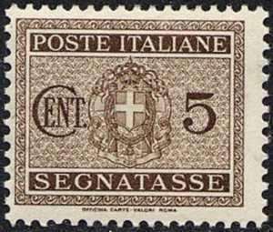 1934 - Segnatasse Regno - nuovo tipo - Stemma sabaudo con fascio littorio