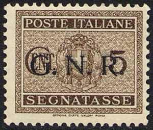 1943-44  - G.N.R.  Segnatasse - Francobolli del 1934   -   sovrastampati G.N.R.