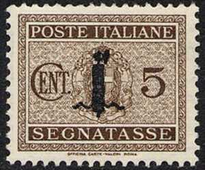 1944 - Segnatasse R.S.I. - Francobolli del 1934   -   sovrastampati  con fascio