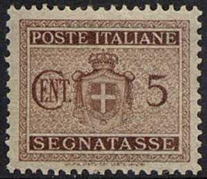 1945 - Segnatasse Luogotenenza - Stemma sabaudo senza fascio littorio e senza filigrana