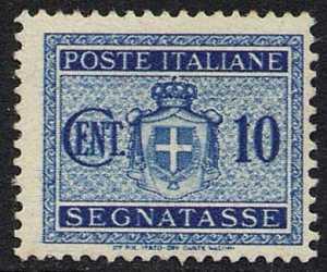 1945 - Segnatasse Luogotenenza - Stemma sabaudo senza fascio littorio con filigrana ruota alata