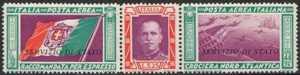 1933 - SERVIZIO AEREO - Regno - trittico della crociera Nord Atlantica con colori cambiati e con soprastampa «Servizio di Stato»