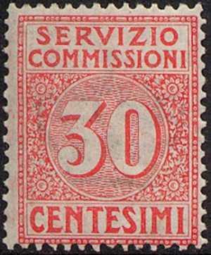 1913 - SERVIZIO COMMISSIONI - Regno - cifra al centro