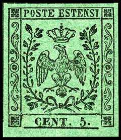 1852 - Aquila coronata estense tra due tralci di alloro