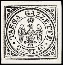 1859 - Segnatasse per giornali - Aquila coronata estense entro un doppio cerchio con dicitura «TASSA GAZZETTE CENT. 10»