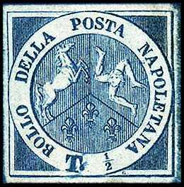 1860 - Dittatura - francobollo precedente da ½ grano - valore modificato in ½ tornese e colore cambiato