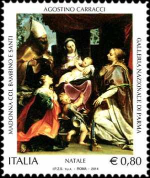 Il Santo Natale - Madonna con il Bambino e Santi - Agostino Carracci