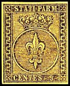1852 - Giglio borbonico in un cerchio sormontato dalla corona ducale
