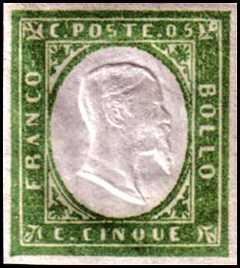 1855 - Quarta emissione - Effige di Vittorio Emanuele II  a secco in rilievo in ovale bianco