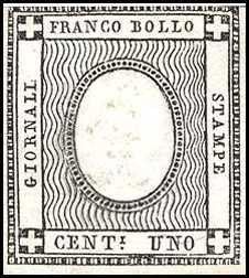1861 - Cifra impressa a secco in rilievo in ovale bianco