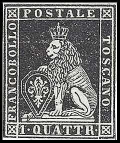 1851 - Marzocco coronato in cornice rettangolare - filigrana corona granducale