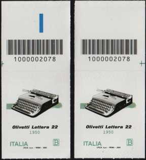 macchina per scrivere portatile OLIVETTI Lettera 22 - 70° Anniversario della produzione - coppia di francobolli con codice a barre n° 2078 in ALTO destra-sinistra