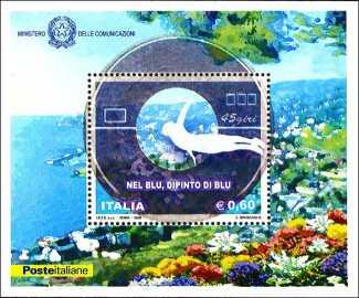 Italia 2008 - foglietto del Cinquantenario della canzone «Nel blu dipinto di blu» di Domenico Modugno