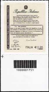 40° anniversario della nomina del primo ministro donna - francobollo con codice a barre n° 1751