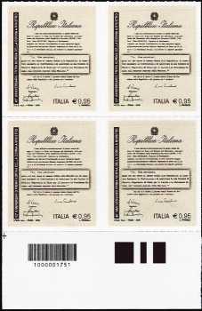 40° anniversario della nomina del primo ministro donna - quartina con codice a barre n° 1751