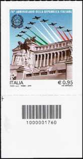 70° Anniversario della Repubblica - francobollo con codice a barre n° 1760