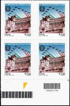 70° Anniversario della Repubblica - quartina con codice a barre n° 1760