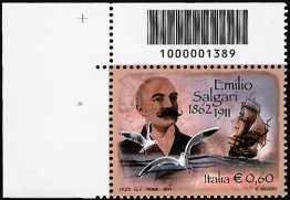 Italia 2011 - Centenario della morte di Emilio Salgari  - codice a barre n° 1389