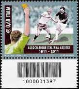 Italia 2011 - Centenario dell'associazione italiana arbitri - codice a barre n° 1397