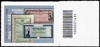 Italia 2011 - Risparmio postale - valore 0.60 - codice a barre n° 1435