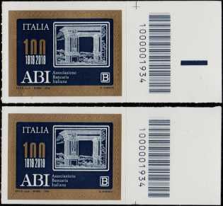 ABI : Associazione Bancaria Italiana - Centenario della costituzione - coppia con codici a barre n° 1934  a DESTRA alto-basso