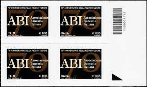 2015 - 70° Anniversario della ricostituzione dell' ABI - Associazione Bancaria Italiana - quartina con codice a barre n° 1697
