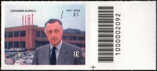 Centenario della nascita di Giovanni Agnelli - francobollo con codice a barre n° 2092 a DESTRA in basso
