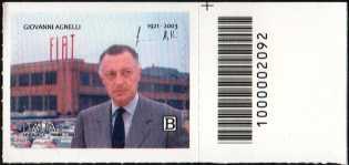 Centenario della nascita di Giovanni Agnelli - francobollo con codice a barre n° 2092 a DESTRA in alto