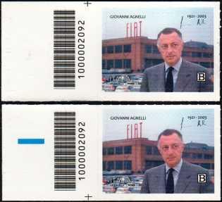 Centenario della nascita di Giovanni Agnelli - coppia di francobolli con codice a barre n° 2092 a SINISTRA alto-basso