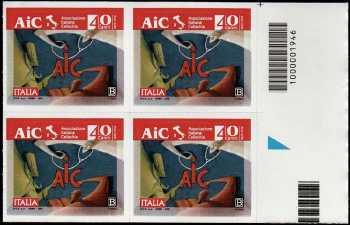 AIC : Associazione Italiana Celiachia - 40° Anniversario della fondazione - quartina con codice a barre n° 1946