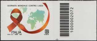Giornata mondiale della lotta contro l'AIDS - francobollo con codice a barre n° 2072 a DESTRA in basso