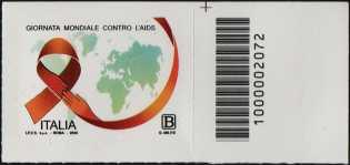 Giornata mondiale della lotta contro l'AIDS - francobollo con codice a barre n° 2072 a DESTRA in alto
