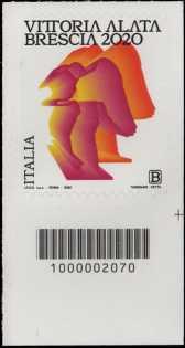 Statua della Vittoria Alata - Brescia - francobollo con codice a barre n° 2070 in BASSO a destra