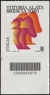 Statua della Vittoria Alata - Brescia - francobollo con codice a barre n° 2070 in BASSO a sinistra