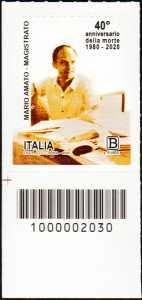 Il Senso Civico - magistrato Mario Amato - 40° Anniversario della morte - francobollo con codice a barre n° 2030 in BASSO a sinistra
