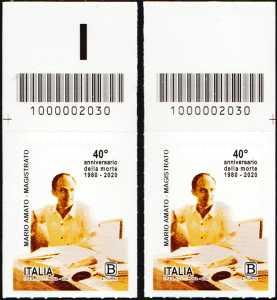 Il Senso Civico - magistrato Mario Amato - 40° Anniversario della morte - coppia di francobolli con codice a barre n° 2030 in ALTO destra-sinistra