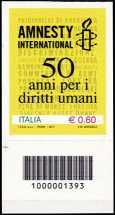 Italia 2011 - 50º anniversario di Amnesty international - codice a barre n° 1393