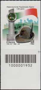Centenario della costituzione della Associazione Nazionale Alpini - francobollo con codice a barre n° 1932 in BASSO a destra