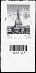 2013 - Patrimonio artistico e culturale italiano : Mole Antonelliana di Torino - codice a barre n° 1557
