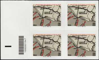75° Anniversario dello Sbarco Alleato di Anzio - quartina con codice a barre n° 1947